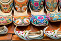 Traditional colorful arabic slippers in the dubai market Royalty Free Stock Photography