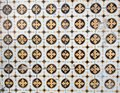 Traditional colorful azulejos in Lisbon, Portugal - Yellow and black tiles Royalty Free Stock Photo