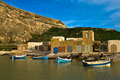 Traditional colorful boats in Gozo Stock Image