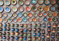 Traditional colorful ceramic plates on the wall of local pottery shop in nessebar bulgaria Royalty Free Stock Photo