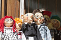 Traditional colorful puppets made of wood in shop, Prague , Czech Republic Royalty Free Stock Photo