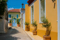 Traditional colorful street in plaka athens old part of district greece Royalty Free Stock Photos