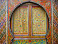 Traditional colourfully painted Moroccan door Royalty Free Stock Photo