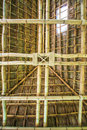 Traditional construction as the roof thai from bamboo and straw Royalty Free Stock Photo