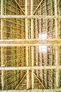 Traditional construction as the roof thai from bamboo and straw Stock Image