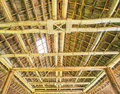 Traditional construction as the roof thai from bamboo and straw Royalty Free Stock Photos