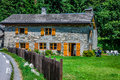 Traditional country house in switzerlands alps france europe Stock Images