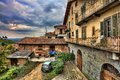 Traditional courtyard. Barolo, Italy. Royalty Free Stock Photo