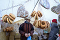 Traditional crafts fair vilnius unidentified people trades food in annual kaziuko on mar in lithuania Royalty Free Stock Photography