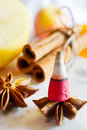 Traditional Czech Christmas - smoking incense cones, star anise and cinnamon Royalty Free Stock Photo