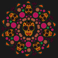 Traditional day dead colorful sugar skull pattern Stock Image
