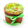 Traditional decorated easter cake kulich isolated on a white background Royalty Free Stock Photos