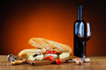 Traditional dinner with cheese and wine still life red Stock Image