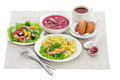 Traditional dinner meals course isolated Stock Image