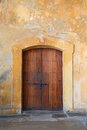 Traditional door in san juan puerto rico colonial cristobal fort old Royalty Free Stock Images
