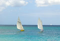 Traditional double ended sailboats competing in the bequia easter regatta hand crafted wooden dinghies participating an annual Royalty Free Stock Photo