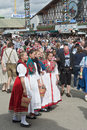 Traditional dress at the octoberfest munich germany sept crowds of visitors st oktoberfest celebrating festivities with festival Stock Image