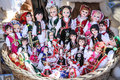 Traditional dressed dolls for sale in raffia basket Royalty Free Stock Photography