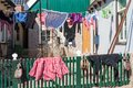 Traditional drying of washing in the Netherlands Royalty Free Stock Photo