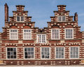 Traditional dutch buildings with brick wall Royalty Free Stock Photos