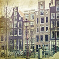 Traditional dutch canal houses vintage photo of buildings in amsterdam Stock Image