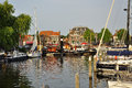The traditional dutch village of enkhuizen old harbour in north holldn province netherlands saling boats Stock Image