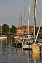 The traditional dutch village harbor of enkhuizen old harbour in north holldn province netherlands saling boats Stock Photos