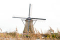 Traditional dutch windmill in winter kinderdijk netherlands Stock Image