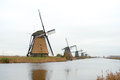 Traditional dutch windmill in winter kinderdijk netherlands Royalty Free Stock Image