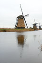 Traditional dutch windmill in winter kinderdijk netherlands Royalty Free Stock Photos