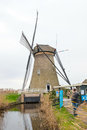 Traditional dutch windmill in winter kinderdijk thousands tourist visited this place during the year netherlands Royalty Free Stock Images