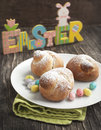Traditional easter bird bun and candy Royalty Free Stock Images