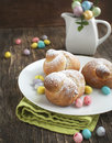 Traditional easter bird bun and candy Stock Image