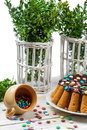 Traditional easter cake with candies and boxwood Royalty Free Stock Photos