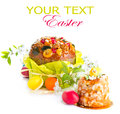 Traditional Easter cake and colorful painted eggs Royalty Free Stock Photo