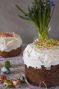 Traditional Easter panettone with flowers