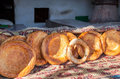 Traditional eastern round appetizing fresh bread selling at the local market Stock Images