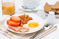 Traditional english breakfast coffee and juice horizontal Stock Image