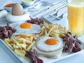 Traditional english breakfast with fresh orange juice Royalty Free Stock Image
