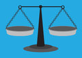 Traditional equal arm beam scales vector illustration old fashion weighing scale with and two suspended balancing pans isolated on Royalty Free Stock Images