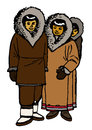 Traditional eskimo family isolated on a white background Stock Photography
