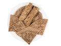 Traditional Ethiopian flatbread from fermented teff flour on a w
