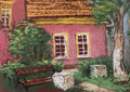 Traditional European old house with tiled roof, bench and green tree. Urban view. Artistic pastels. Royalty Free Stock Photo