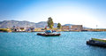 Traditional ferry boat on Vivari Channel,  Butrint, Albania. Royalty Free Stock Photo