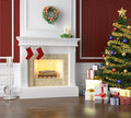 Traditional fireplace decorated for Royalty Free Stock Photo