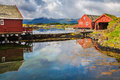 Traditional fisherman houses rorbu at Haholmen island, Norway Royalty Free Stock Photo