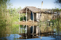 Traditional fisherman hut in danube delta shack Stock Photos