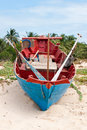 Traditional fisherman s boat vietnam fishing on the beach of the island phu quoc Royalty Free Stock Photo