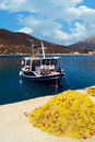 Traditional fishing boat at lefkada island greece Royalty Free Stock Image