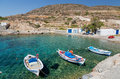 Traditional fishing boats in ag nikolas bay kimolos island cyclades greece is a greek the aegean sea it lies on the southwest of Stock Images